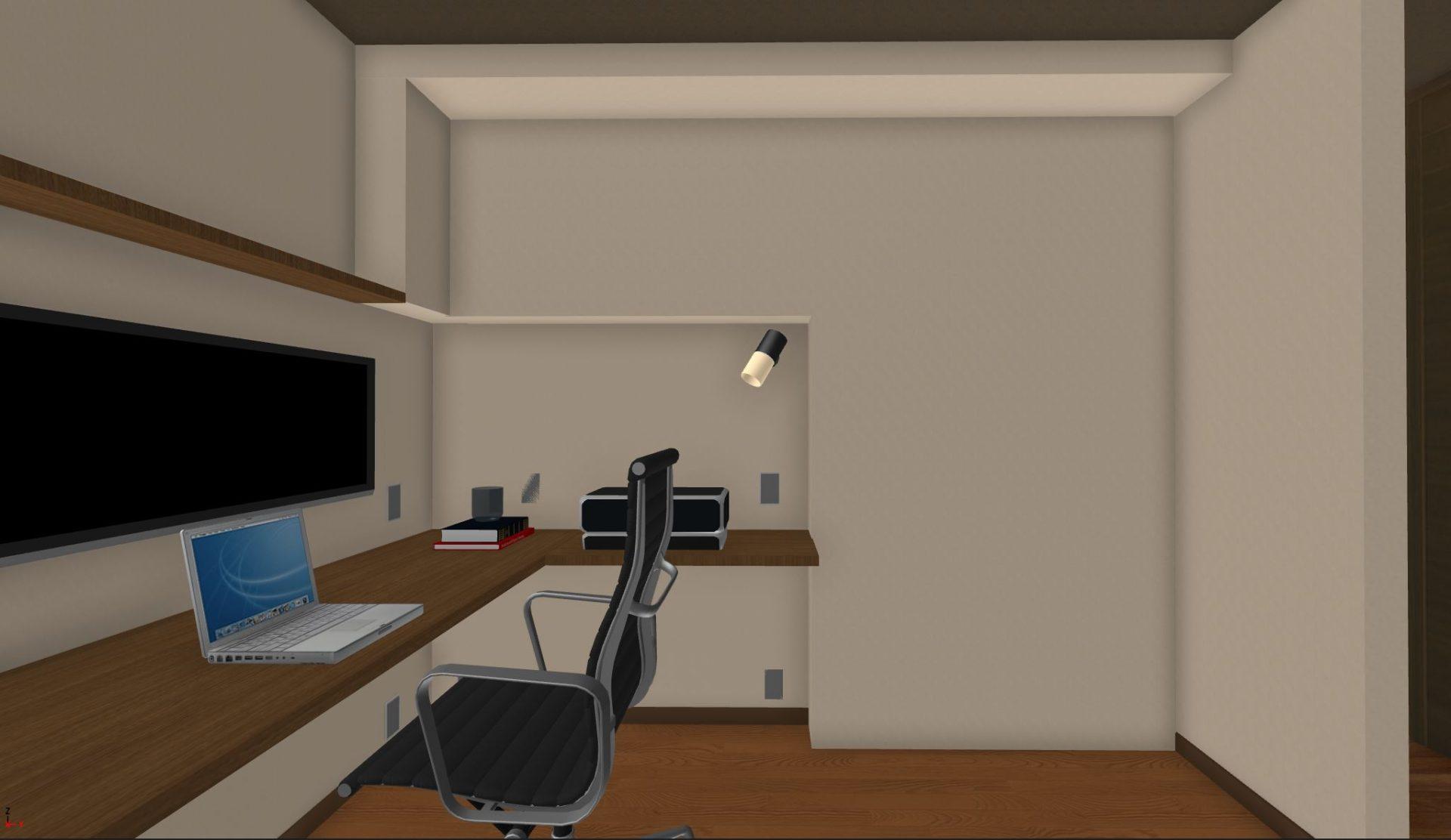 デスクと収納の面を揃えるために壁をふかす