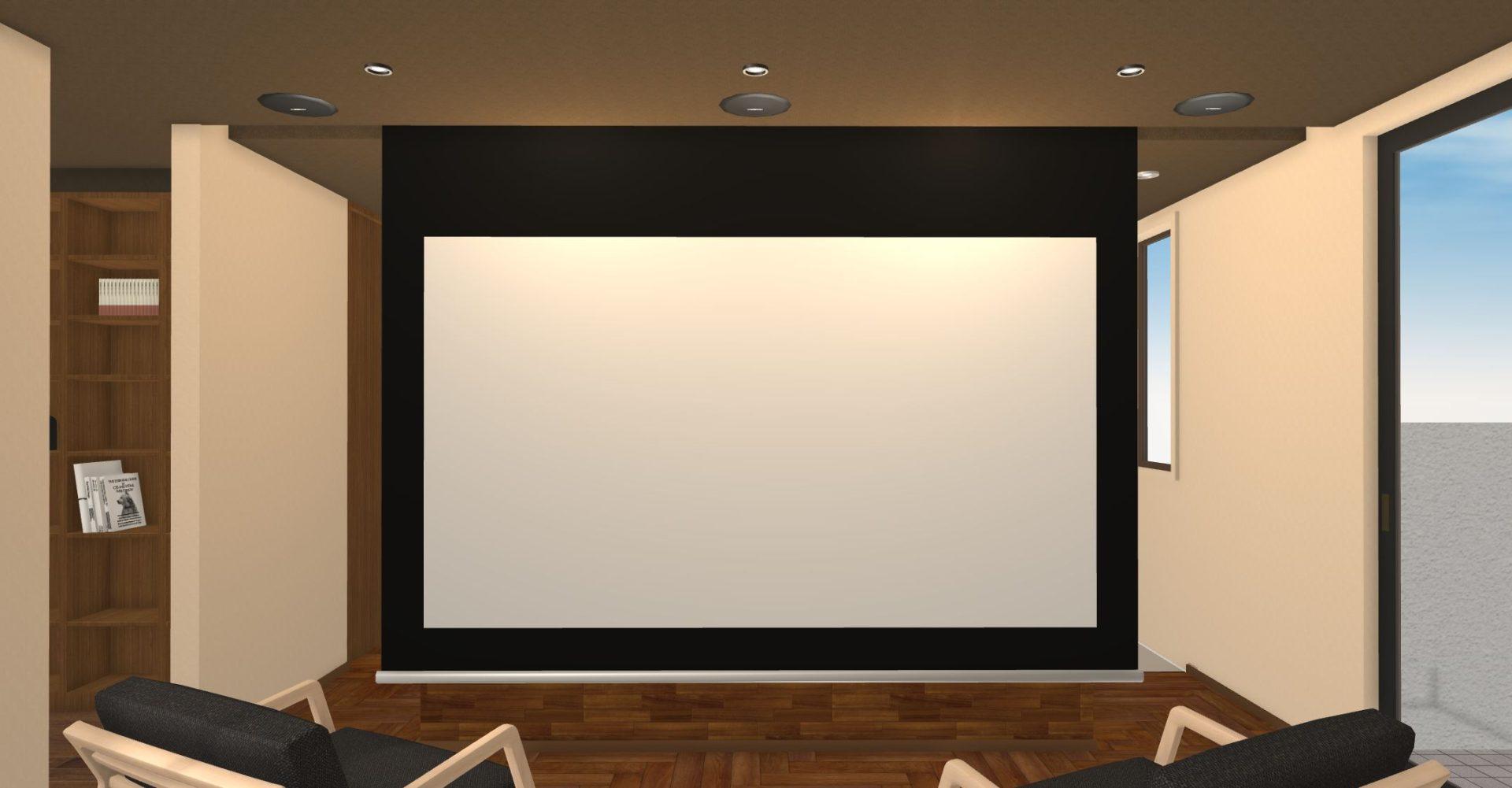 セカンドリビングには110インチのスクリーンを設置予定