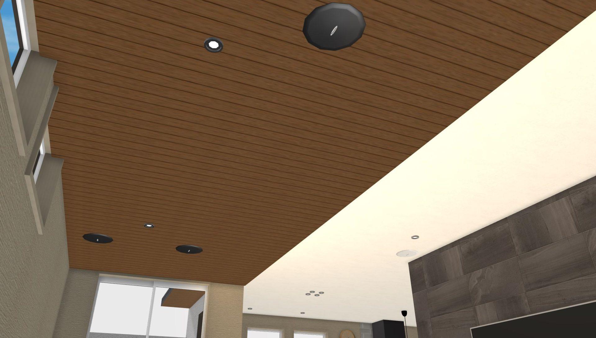 2階リビングにはマルホンの特注品の木製リブ天井(ミディアムブラン)を採用