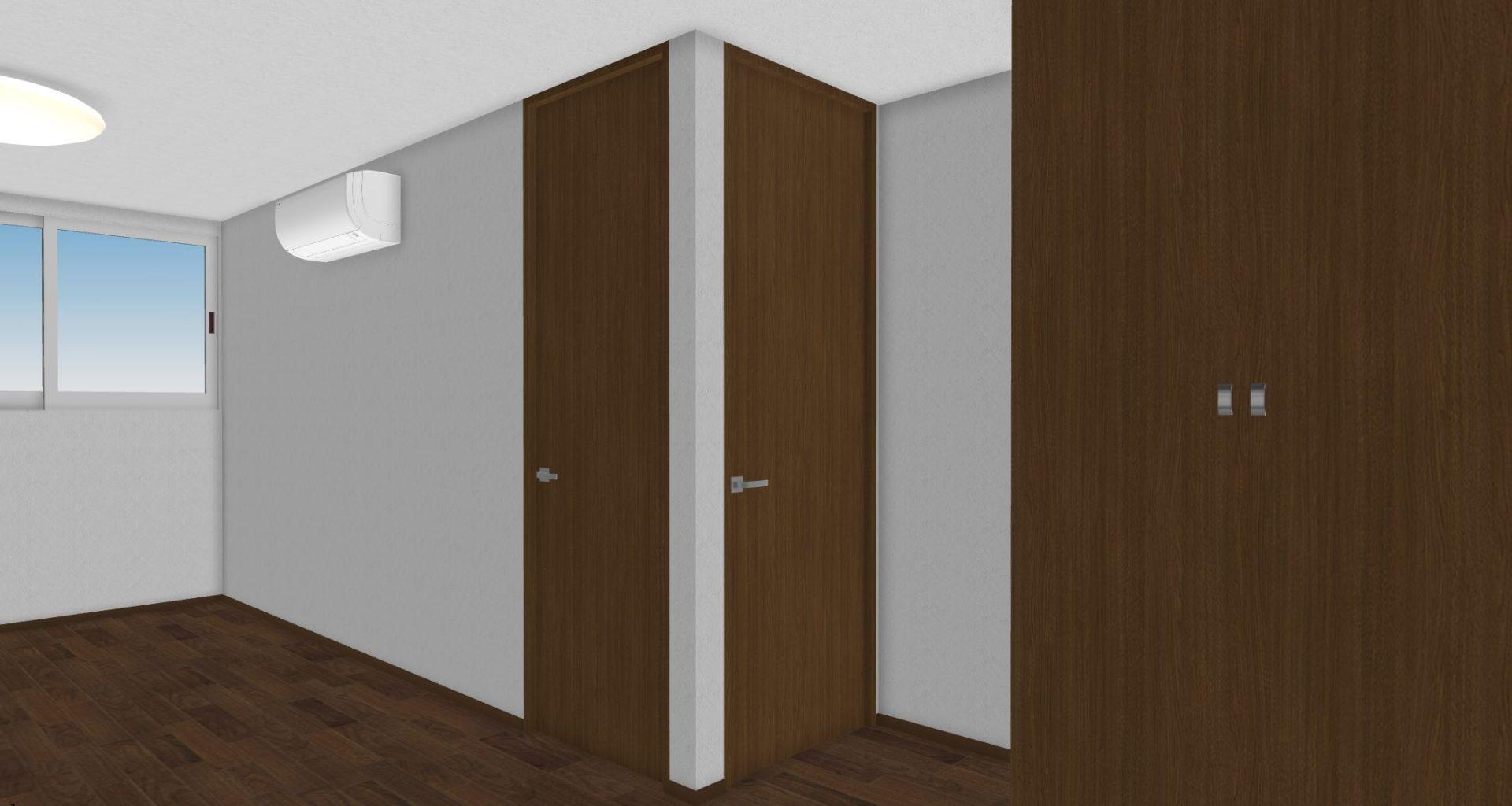 部屋を分ける前提のため扉が2つある