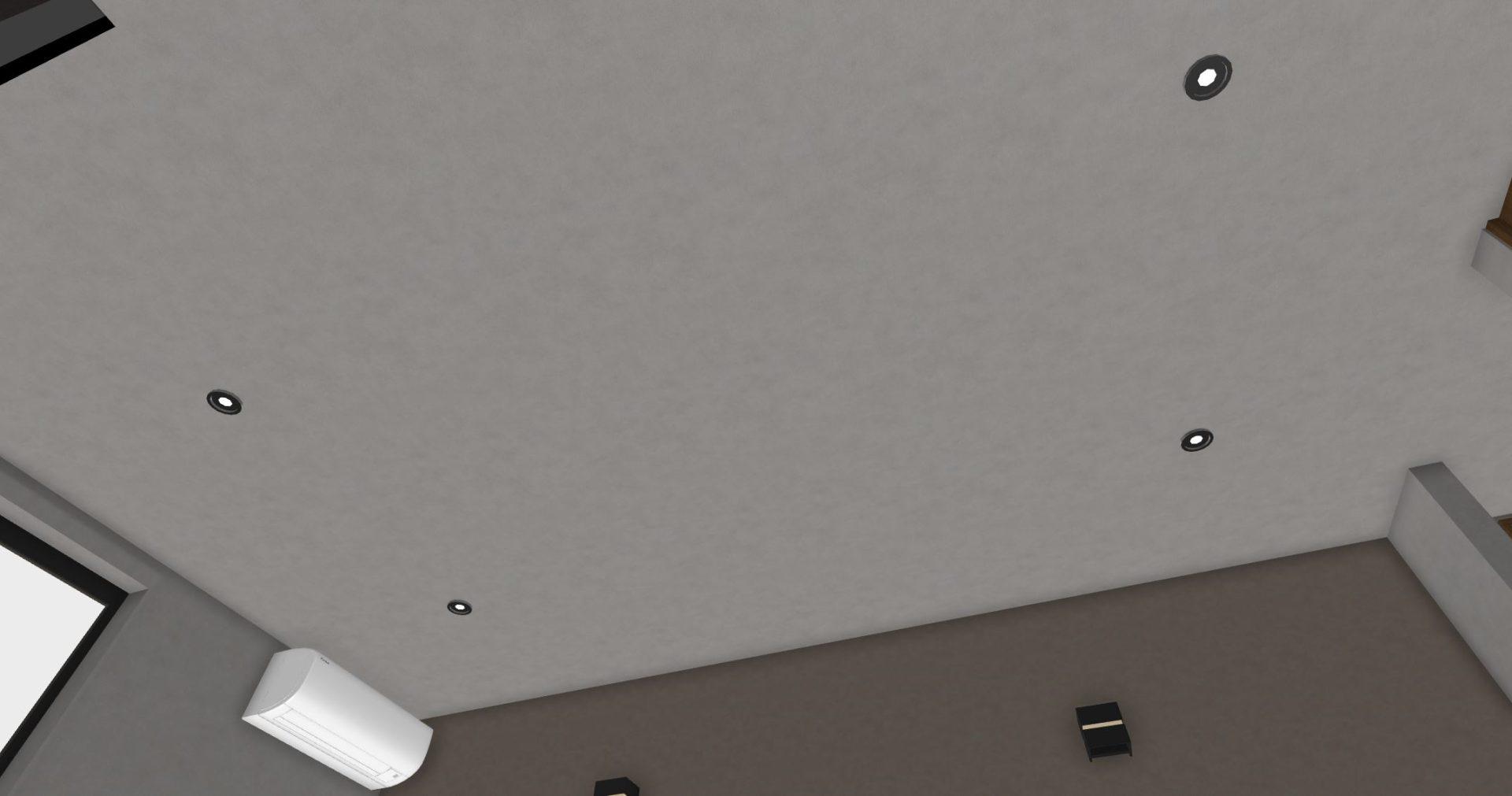 ダウンライトはベッドの上にこないように中心からずらして配置