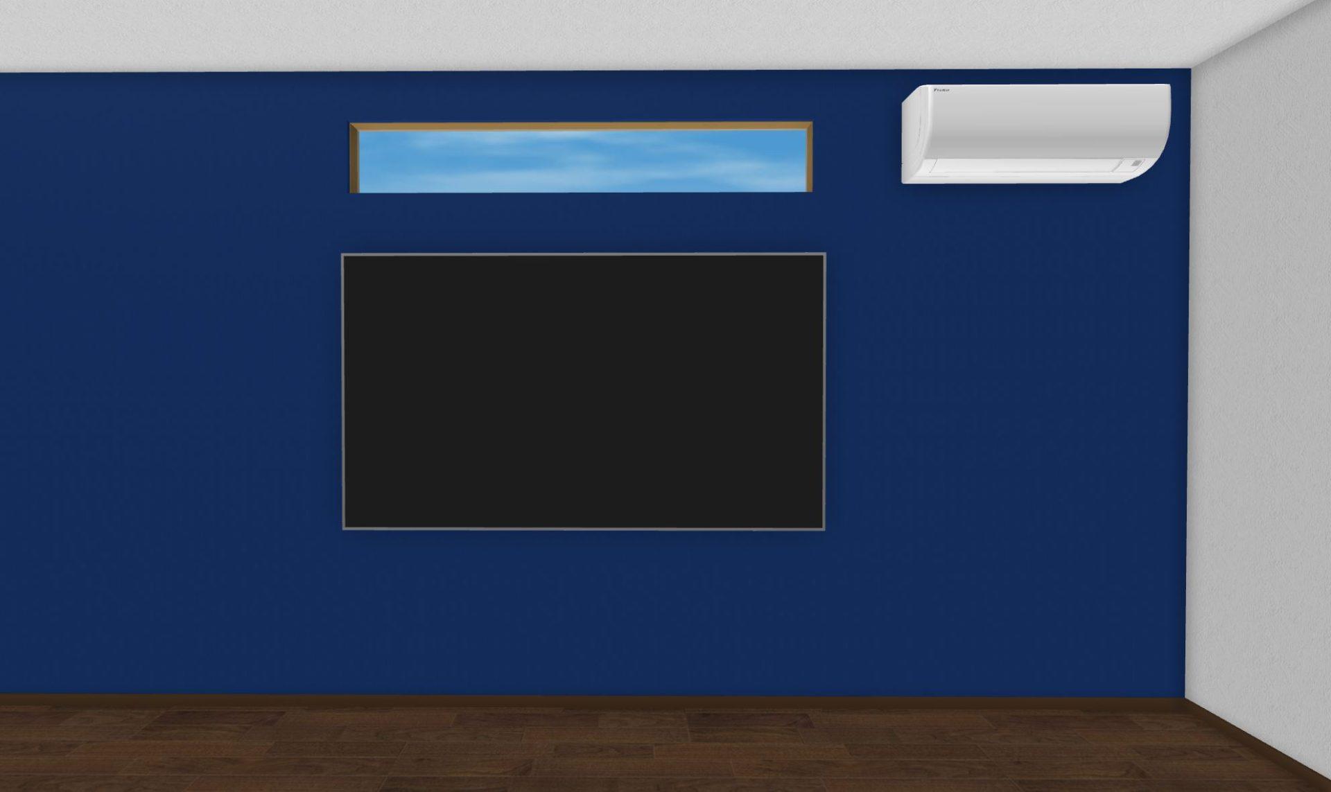 テレビ・アクセント面に窓・エアコンの例