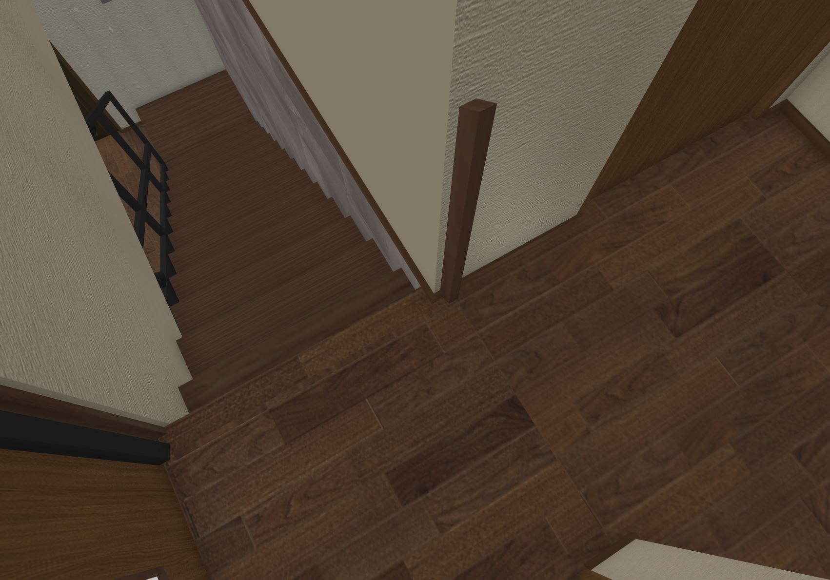 巾木をそのまま延長して見切り材として利用(手すりがはみ出しているのは気にせずに)