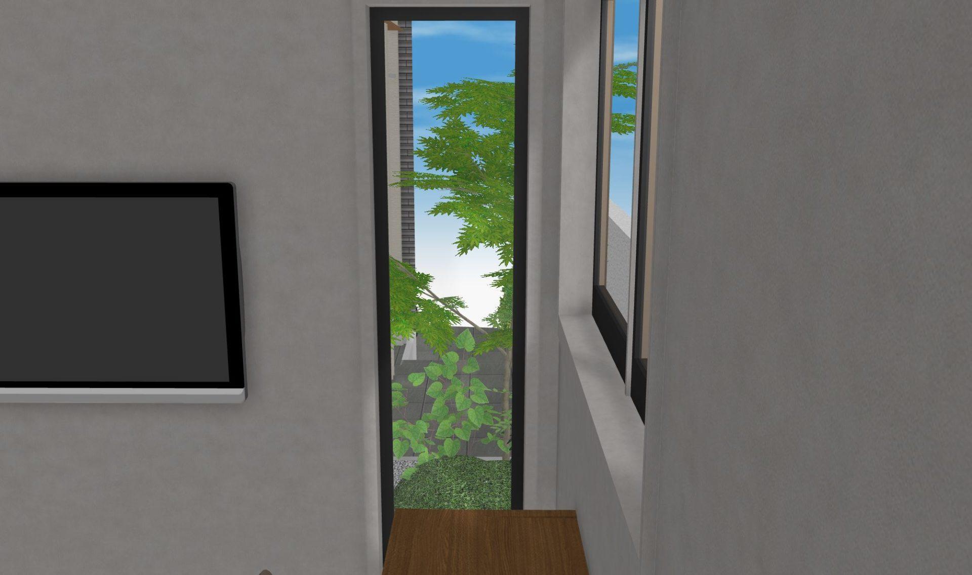 寝室から坪庭を眺めることができる