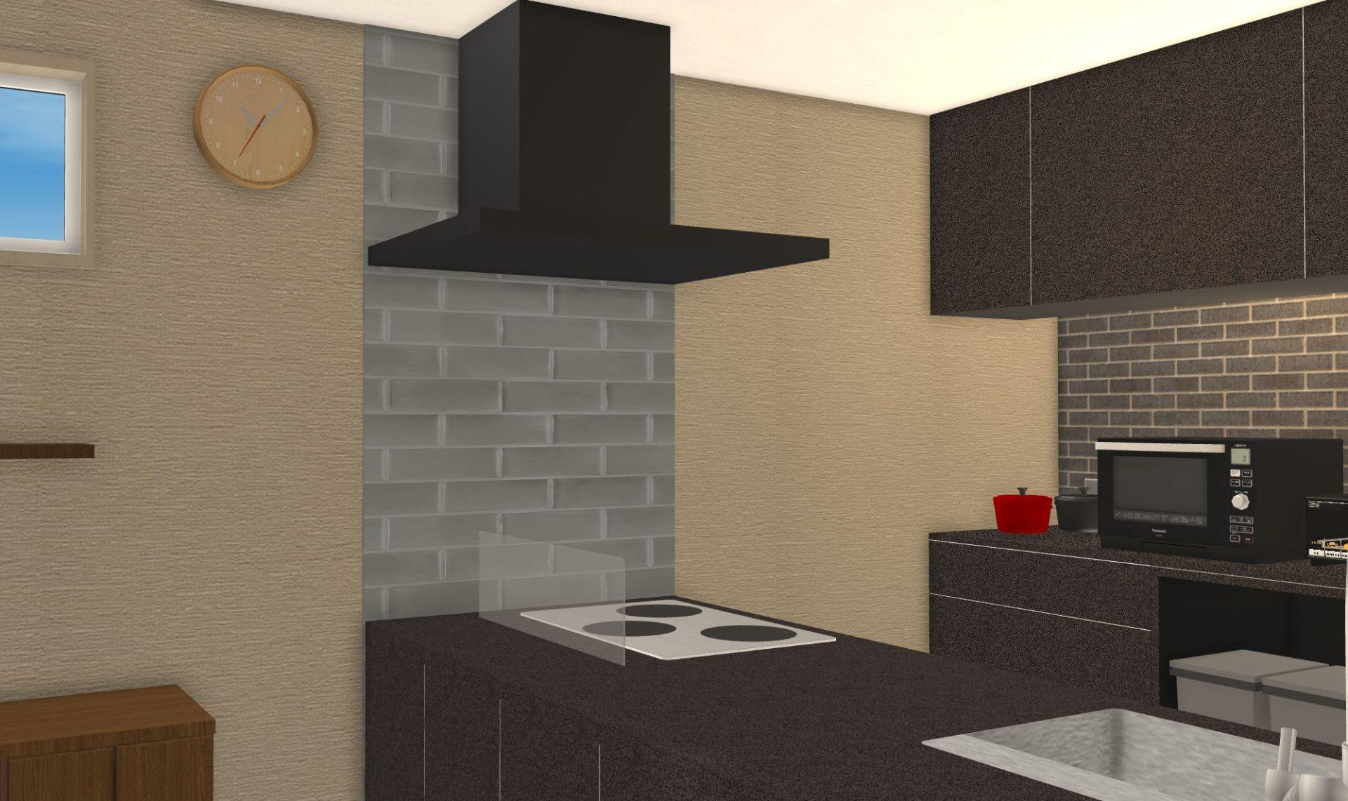 キッチンパネルではなく名古屋モザイクのひだSを使用