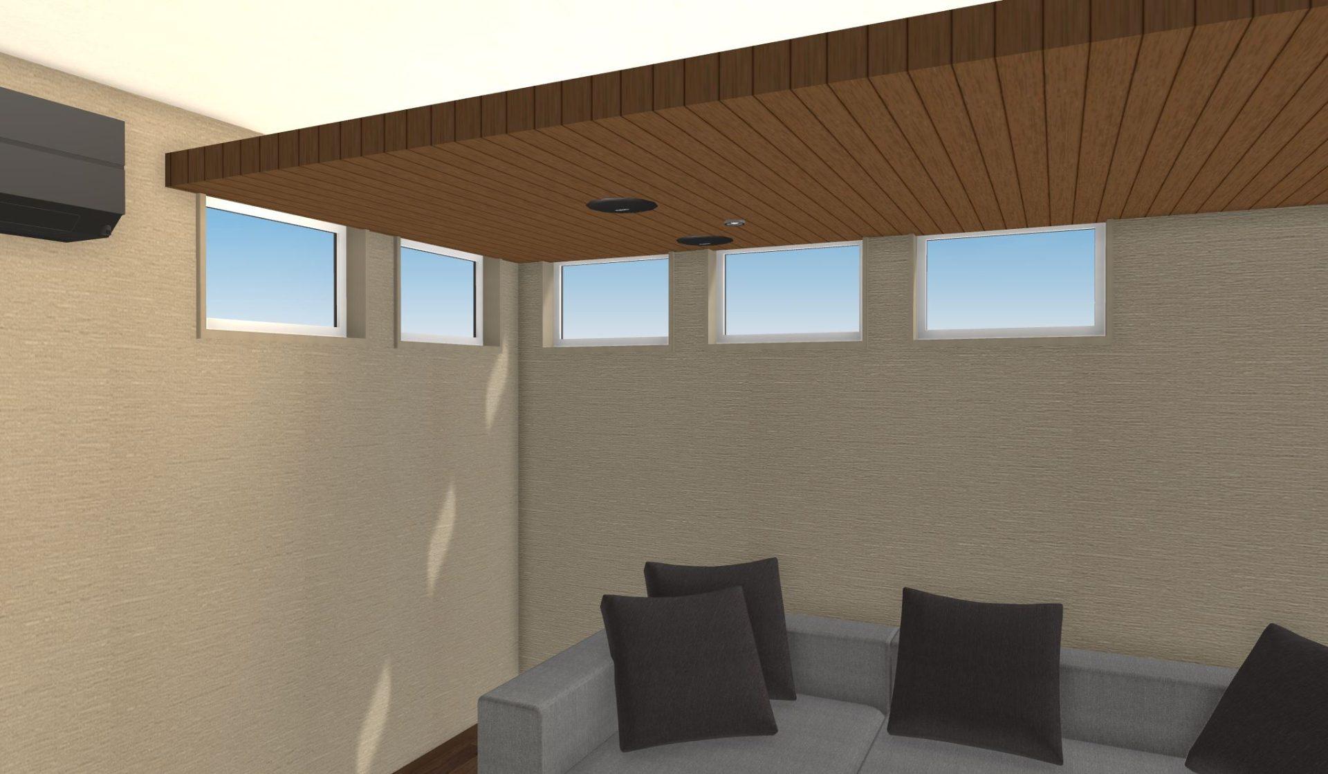 同じサイズの窓が同じ間隔で並ぶことで統一感とリズムが生まれる