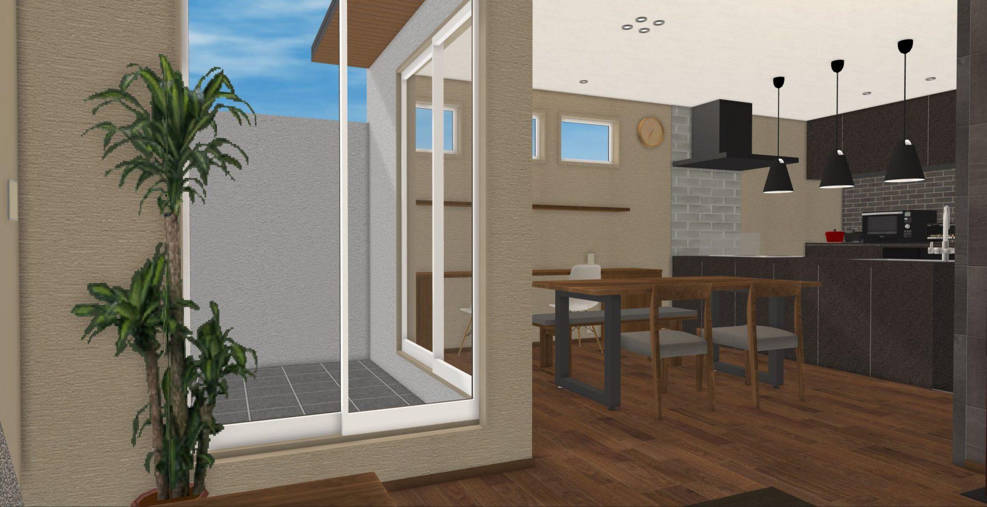 バルコニーの窓を角に寄せることで一続きの空間に