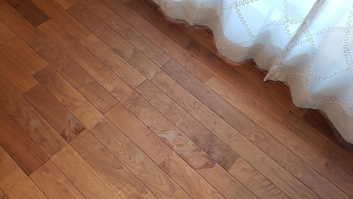 挽板が水シミになってしまった展示場の床