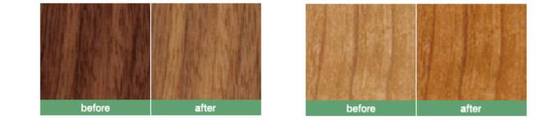 左がウォルナットの経年変化、右がチェリーの経年変化