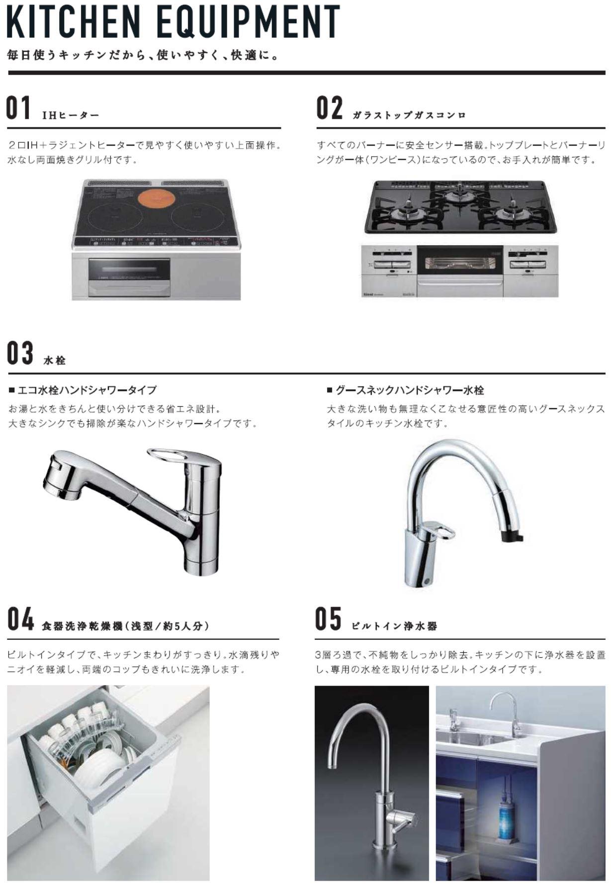 キッチンの標準設備