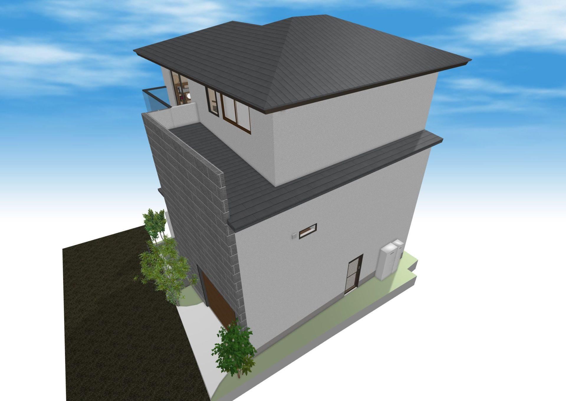 2階の上の一部には屋根