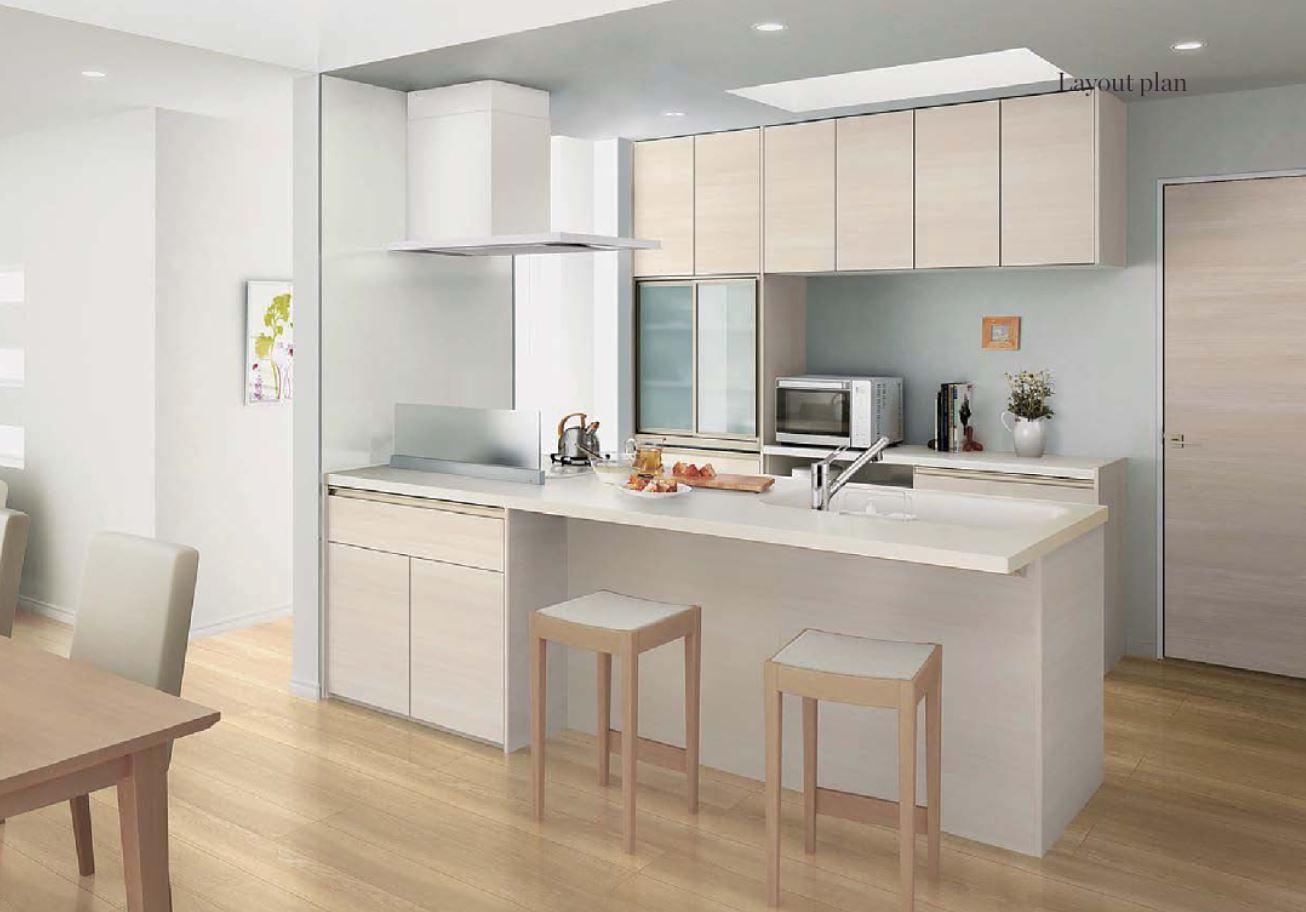 キッチンのカウンターを食事スペースにした例(出典:LIXIL)